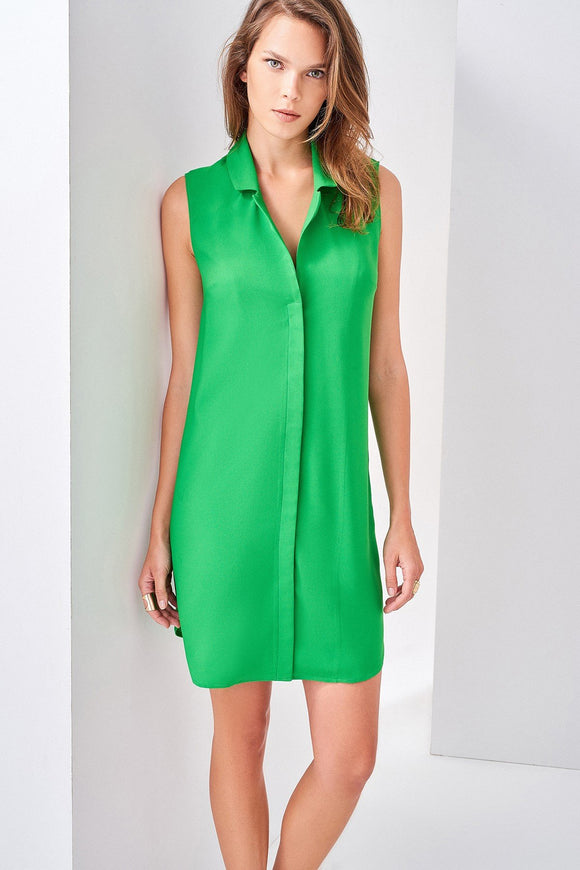 1210130 Green Sleeveless Shirt Dress