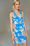 1210187 Blue Flower Patterned Shift Dress
