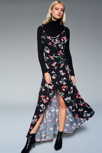 1210169 Black Flower Pattern Maxi Dress
