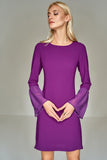 4510332 Purple Chiffon Sleeves Shift Dress