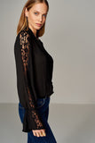 3020365 Black Lace Sleeve Blouse