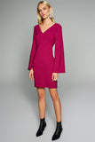 4510346 Fuschia Bell Sleeve Dress