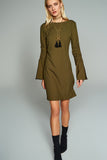 4510358 Khaki Ruched Sleeve Shift Dress