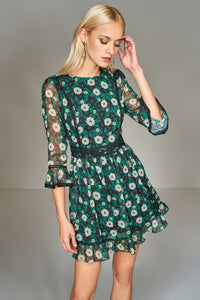 1210137 Black & Green Flower Pattern Dress