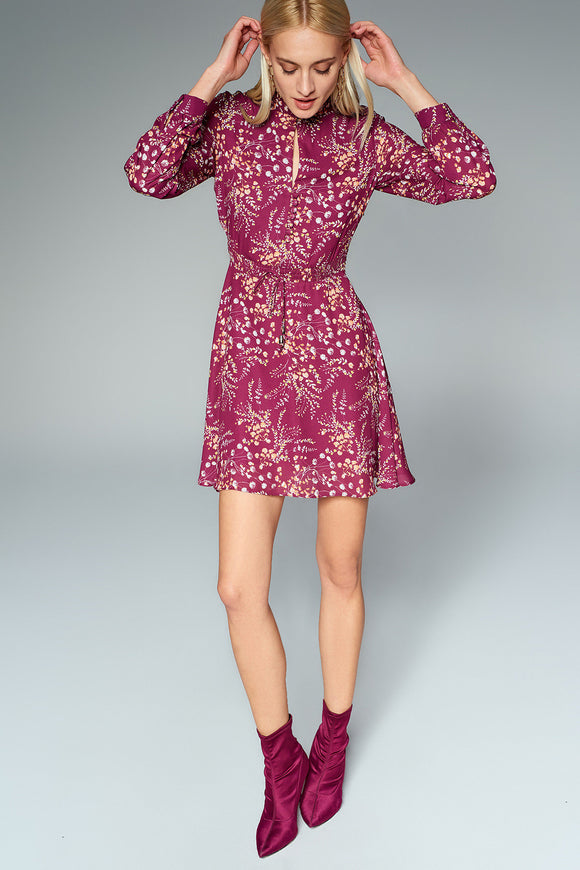 4510367 Bordeaux Collar Detail Pattern Dress