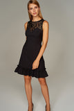 4510370 Black Lace Collar Detail Dress