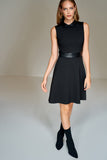 4510371 Black Faux Leather Detail Dress