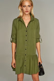 1210235 Khaki Shirt Dress