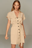 4510403 Beige Front Button Dress