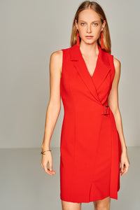 4510405 Red Italian Collar Dress