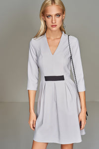 4510411 Grey Pleated Waist Dress