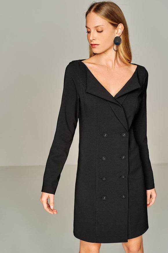 4510415 Black Jacket Style Dress