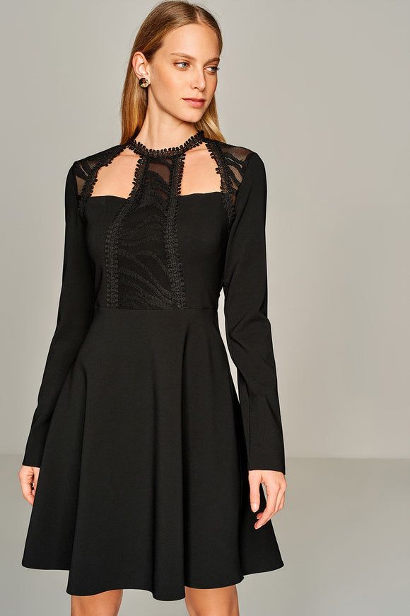 4510416 Black Lace Detail Skater Dress