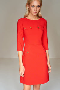 4510429 Red Pocket Detail Dress