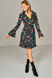 1210147 Black Flower Pattern Dress