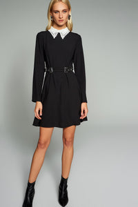 4510443 Black Embroidered Collar Dress