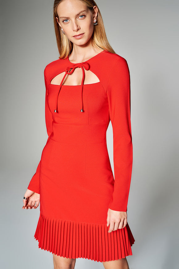 4510447 Red Pleated Tier Dress