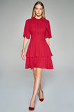4510453 Bordeaux Button Tiered Dress