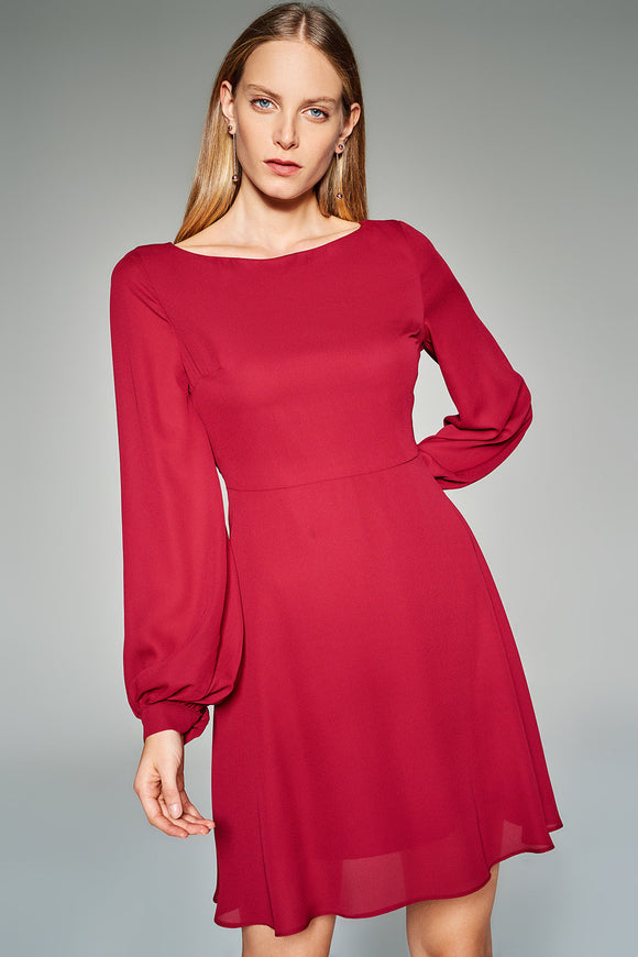 4510458 Bordeaux Boat Collar Dress