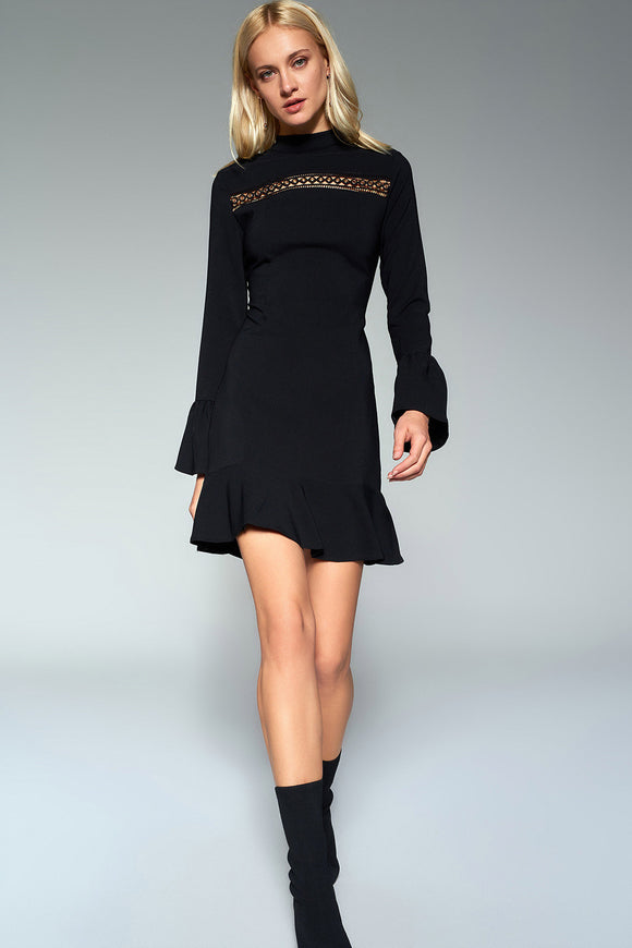 4510477 Black Frilly Sleeve Dress