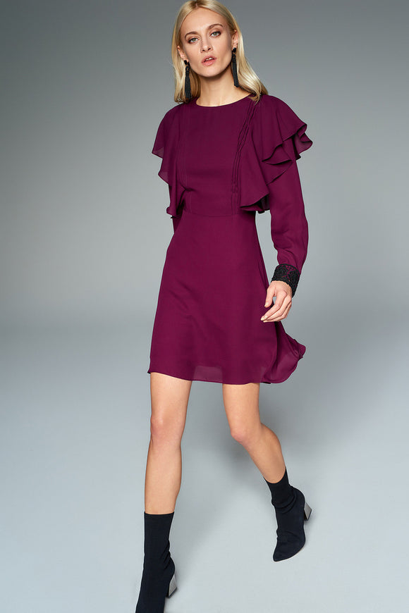 4510478 Plum Frilly Sleeve Dress