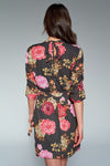 1210200 Khaki Flower Pattern Waistt Dress