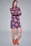 1210207 Navy Flower Print Shift Dress