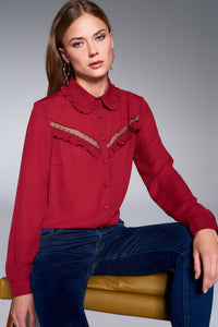 3010045 Bordeaux Frill Long Sleeve Shirt