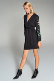 4510486 Black Floral Sleeve Dress