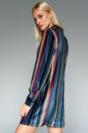1210238 Multi Colour Stripe Velour Dress