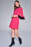 1210192 Fuschia Flower Pattern Dress