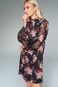1210141 Black Flower Lace Detail Dress