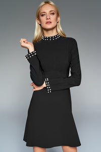 4510494 Black Pearl Detail Shift Dress