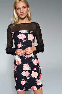 1210178 Black Tulle Flower Detail Dress
