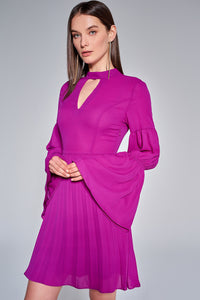4510503 Purple Pleated Bell Sleeve Dress