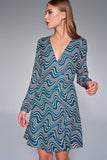 4510507 Blue-Pink Pattern Wrap Dress