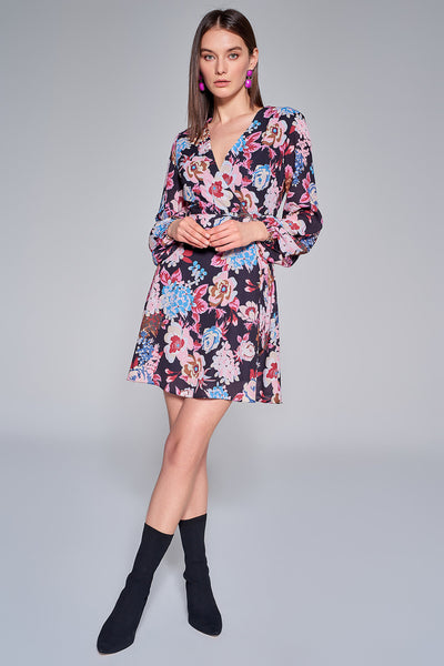 1210151 Black Flower Pattern Dress