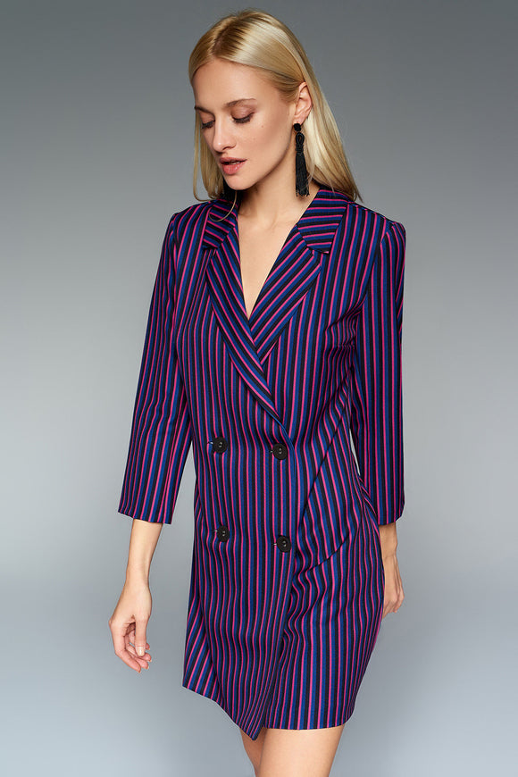 4510511 Navy-Pink Striped Jacket Dress