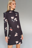 1210170 Black Flower Pattern Shift Dress