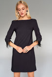 4510529 Black Fur Sleeve Shift Dress