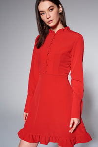 4510530 Red Frill-Button Detail Dress