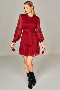 4510533 Bordeaux Chiffon Dress