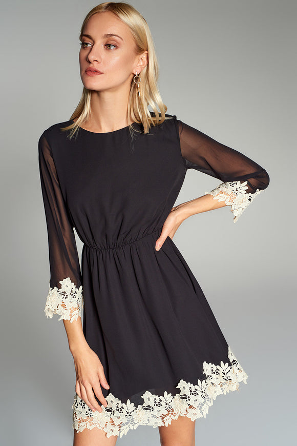 4510538 Black Lace Detail Dress