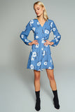 1210185 Blue Flower Pattern Wrap Dress