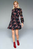 1210176 Black Flower Patterened Dress