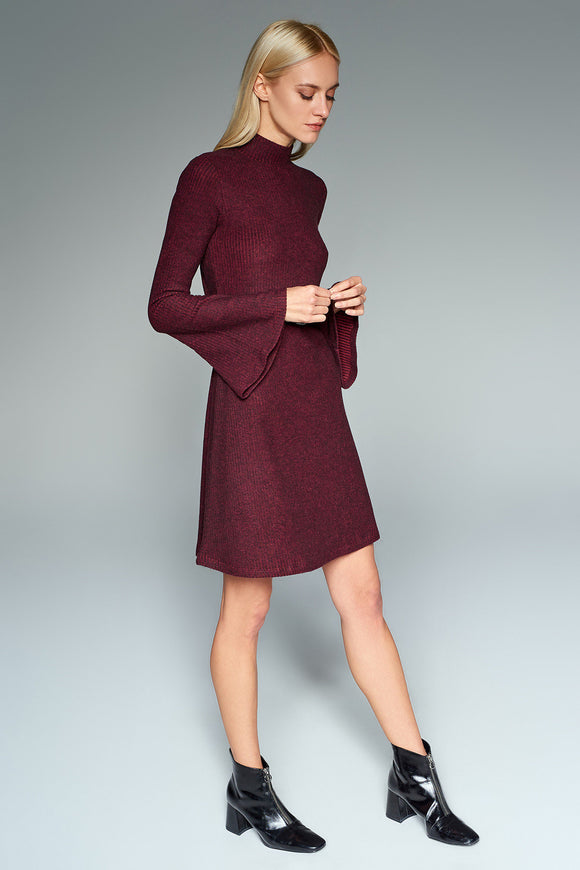 4510543 Bordeaux Bell Sleeve Dress