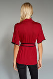 3020200 Bordeaux High-Neck Blouse