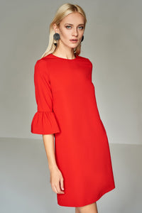 4510550 Red Frill Sleeve Dress