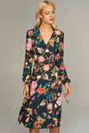 1210174 Black Flower Pattern Wrap Dress