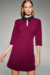 4510563 Plum Embroidered Collar Dress